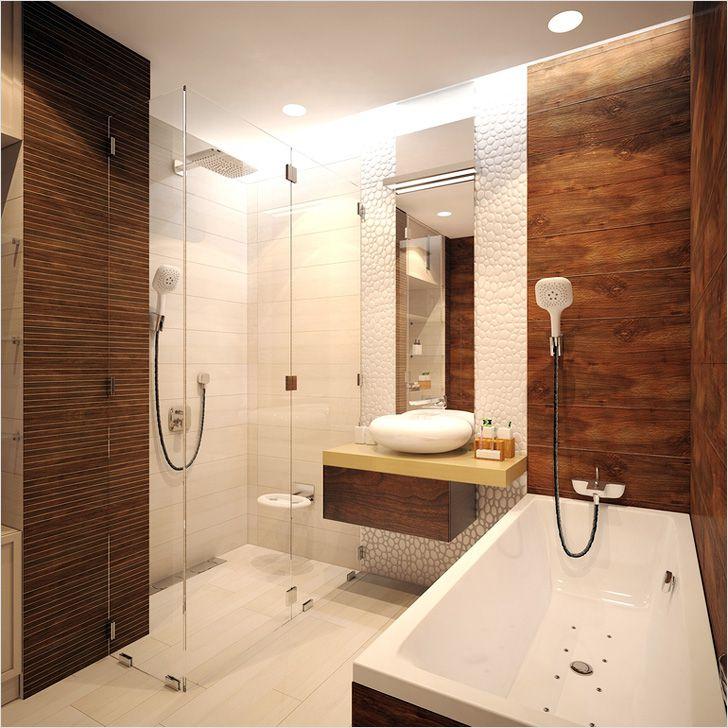 Дизайн ванной из плитки под дерево