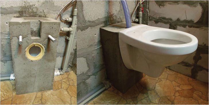 Установка подвесного унитаза на бетонное основание