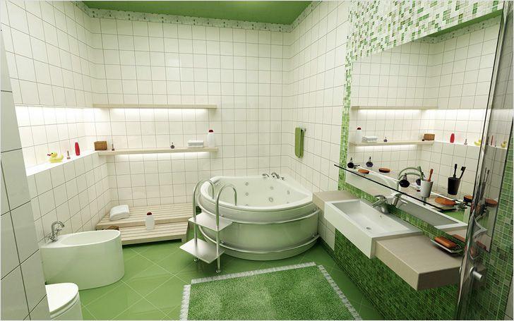 Ванная в светло-зеленых тонах