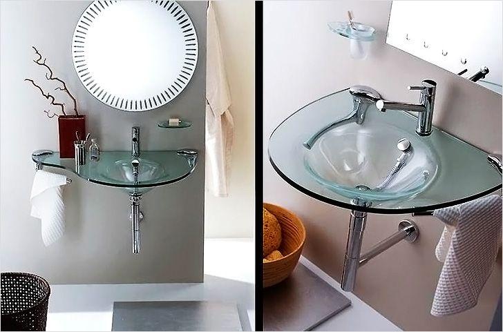 Стеклянные раковины в интерьере ванной комнаты фото