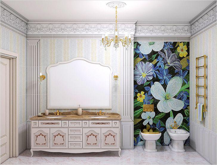 Цветочное панно, выложенное из мозаики