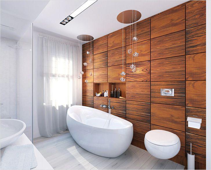 Облицовка одной из стен деревянными панелями